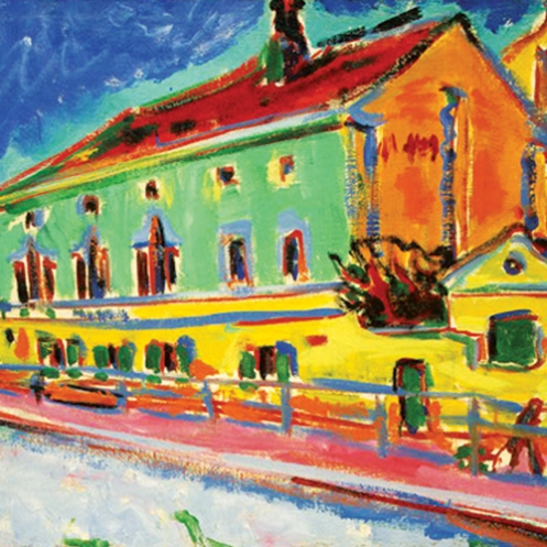Earnst Ludwig Kirchner, Dance Hall Bellevue (previously known as Houses in Dresden), 1909–10, oil on canvas.reminiscent of Van Gogh's Yellow house?1